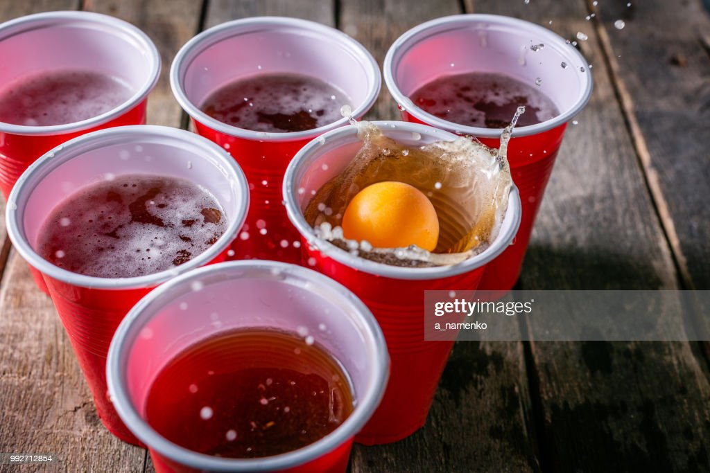 College party sport - beer pong table setting : Stock Photo