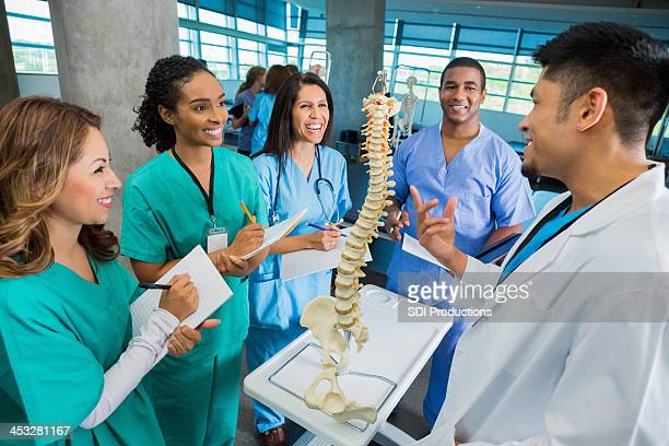 College professor teaching medical or nursing students with spine model