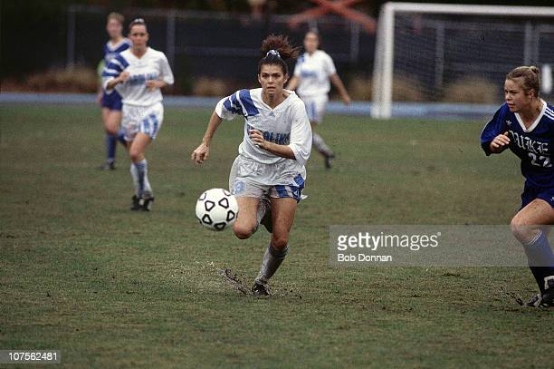 NCAA Finals North Carolina Mia Hamm in action vs Duke at Fetzer Field Weather mud and rainChapel Hill NC CREDIT Bob Donnan