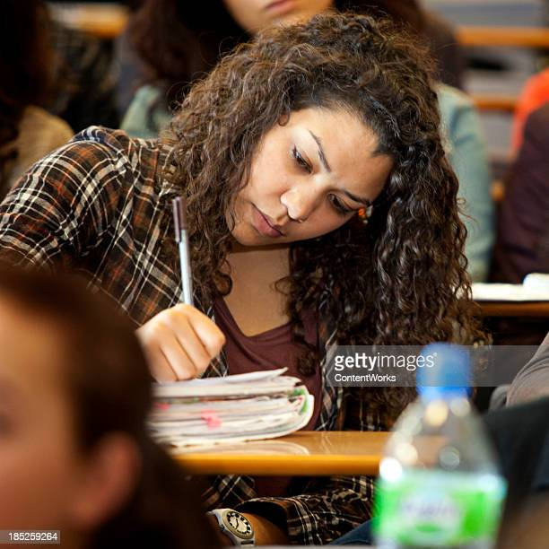 College student in lecture hall