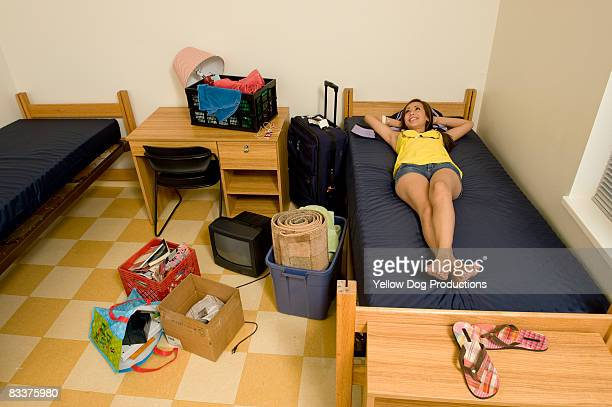 College student moving into dorm room