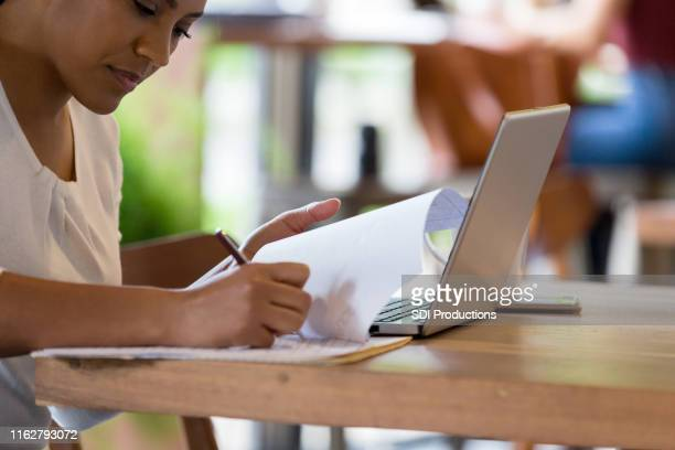 college student studying in coffee shop - application form stock pictures, royalty-free photos & images
