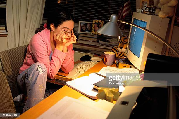 college student studying late at night - extra long stock pictures, royalty-free photos & images