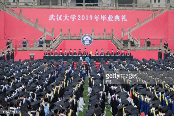 College students attend the graduation ceremony of Wuhan University on June 21 2019 in Wuhan Hubei Province of China About 11000 college students and...