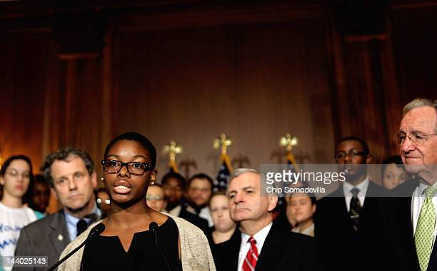 College students from across the country listen as Howard University student Clarise McCants of Philadelphia PA speaks about the student loan bill...