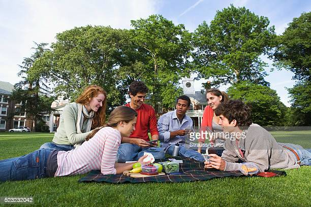 College students having a picnic on a campus lawn