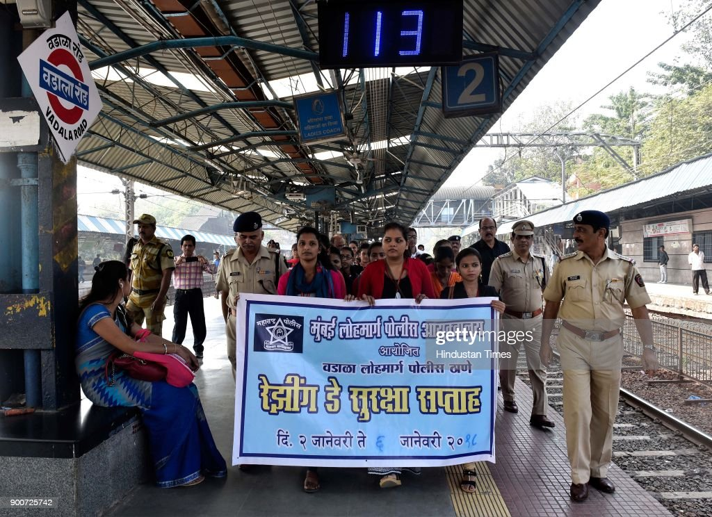 College students held a security rally at Wadala Railway Station, on the occasion 'Raising Day' along with Maharshtra police and Railway Police, on January 2, 2018 in Mumbai, India.