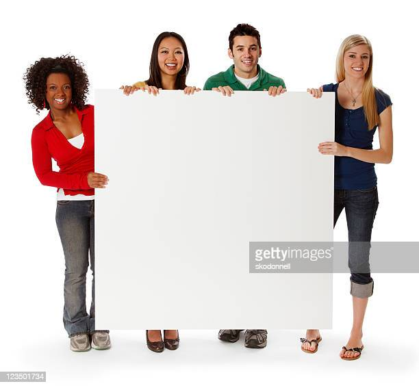 College Students Holding a Blank Sign