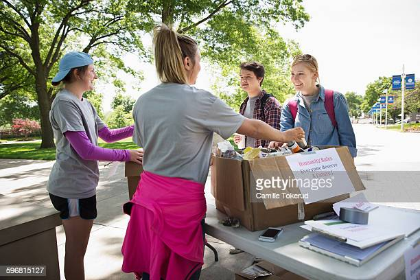 College students hosting a food drive