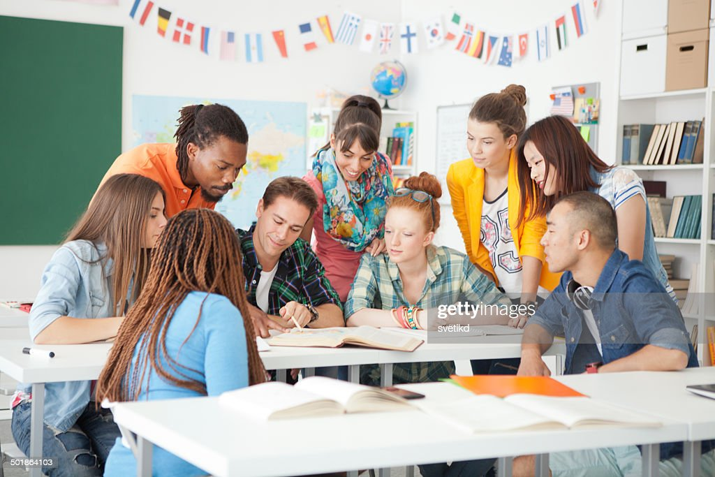 College students in a classroom. : Stock Photo
