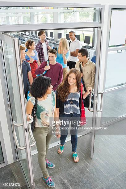 College students leaving classroom