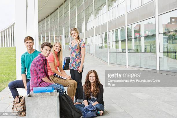 College students relaxing outdoors