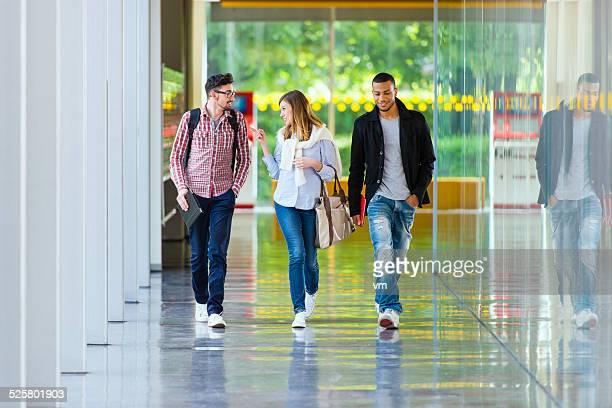 College Students Walking in the Corridor