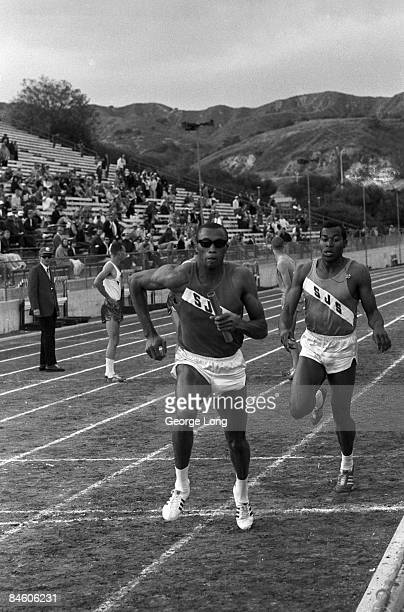 College Track & Field: 9th Mt SAC Relays: San Jose State Tommie Smith in action during relay at Mt. SAC Stadium on Mount San Antonio College campus....
