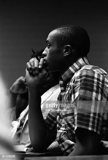 College Track & Field: Closeup portrait of San Jose State Tommie Smith at class, San Jose, CA 4/23/1967