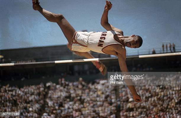 NCAA Championships Morgan State Bob Barksdale in action during High Jump at Edwards Stadium Sequence Berkeley CA CREDIT Phil Bath