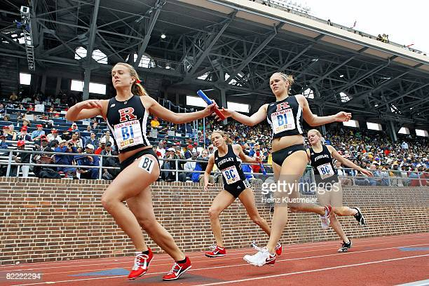 College Track Field Penn Relays Rutgers Erin Berg in action passing baton to teammate Alexis Gray during anchor leg of 4x800M Relay at Franklin Field...