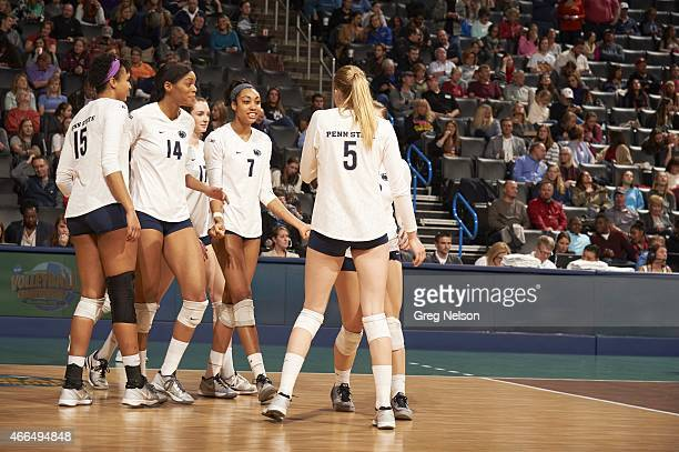 NCAA Finals Penn State Haleigh Washington Aiyana Whitney Nia Frant and Ali Frantti during game vs BYU at Chesapeake Energy Arena Oklahoma City OK...