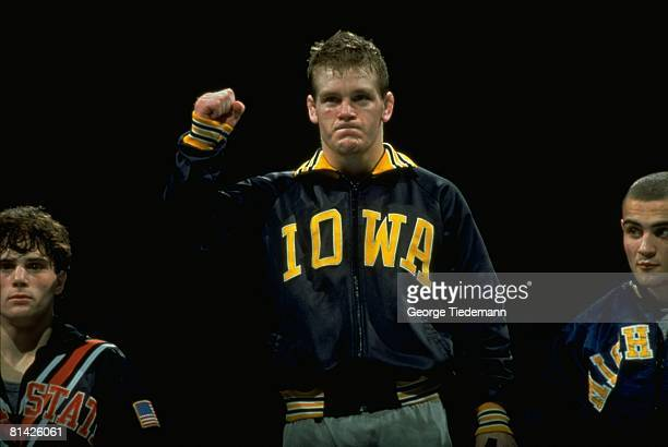 College Wrestling: NCAA Championships, Closeup of Iowa Tom Brands victorious after winning match, Iowa City, IA 3/15/1991