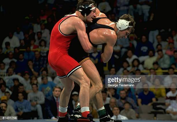 College Wrestling NCAA Championships Oklahoma State Pat Smith in 158 lb action vs Iowa Tom Ryan Iowa City IA 3/15/1991