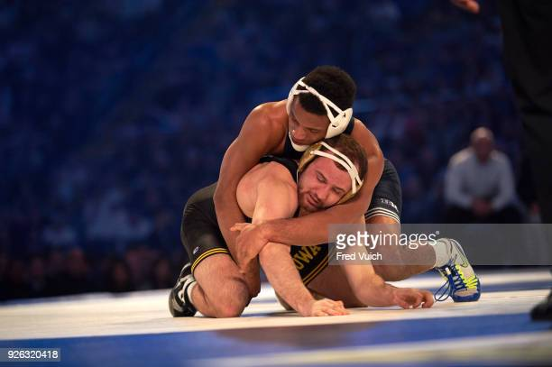Penn State Mark Hall in action vs Iowa Joey Gunther during 174 lb class match at Bryce Jordan Center University Park PA CREDIT Fred Vuich
