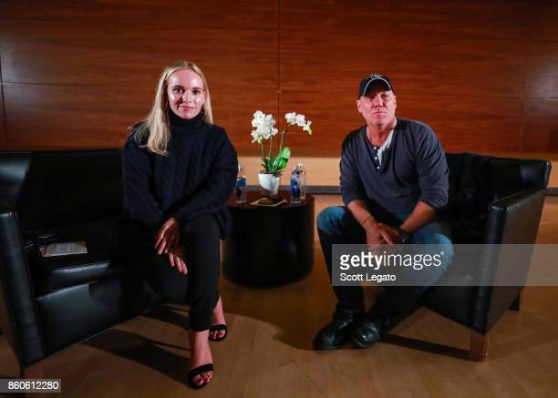 CollegeFashionista Founder and CEO Amy Levin and shoe designer Steve Madden pose at the University of Michigan on October 11 2017 in Ann Arbor...
