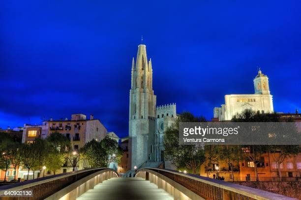 Collegiate Church of Sant Feliu in Girona at Night