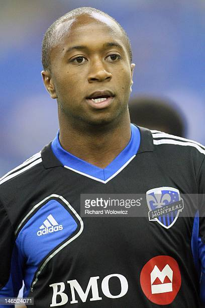 Collen Warner of the Montreal Impact warms up during the warm up period prior to facing the New York Red Bulls in their MLS match at the Olympic...