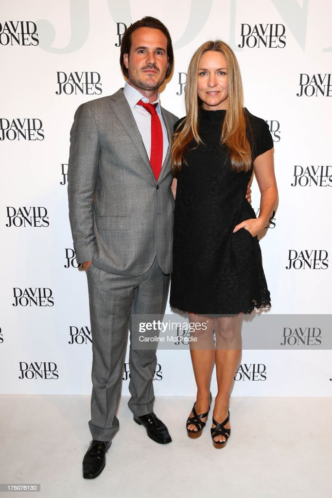 Collette Dinnigan and Bradley Cocks arrive at the David Jones Spring/Summer 2013 Collection Launch at David Jones Elizabeth Street on July 31, 2013 in Sydney, Australia.