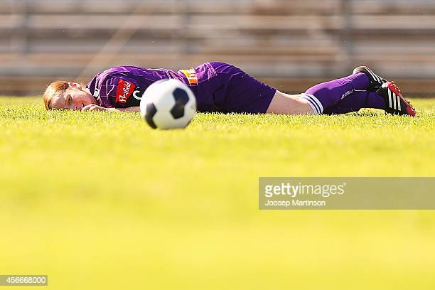 Collette McCallum of the Glory lays on the grass after being tackled during the round four WLeague match between Western Sydney and Perth Glory at...