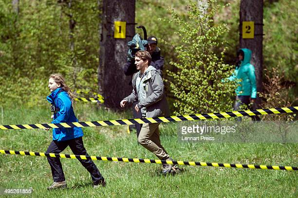 Collien UlmenFernandes Raul Richter and kids seen on set during the shooting for the second season of ''Cartoon Network Spurensuche' on May 12 2014...