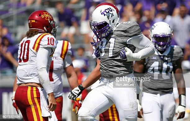 J Collier of the TCU Horned Frogs celebrates after sacking Jacob Park of the Iowa State Cyclones during the second half at Amon G Carter Stadium on...
