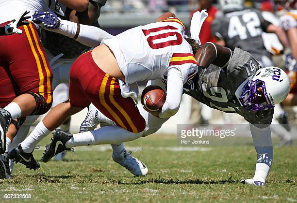 J Collier of the TCU Horned Frogs sacks Jacob Park of the Iowa State Cyclones during the second half at Amon G Carter Stadium on September 17 2016 in...