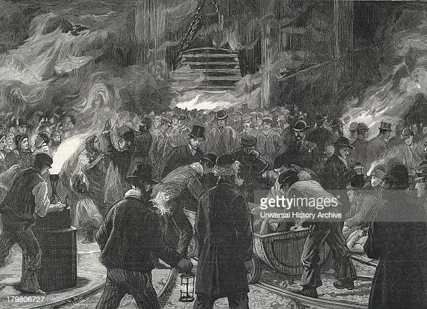 Colliery explosion at Llanerch Monmouthshire Wales 1890 The midnight shift waiting to go down the shaft to recover bodies