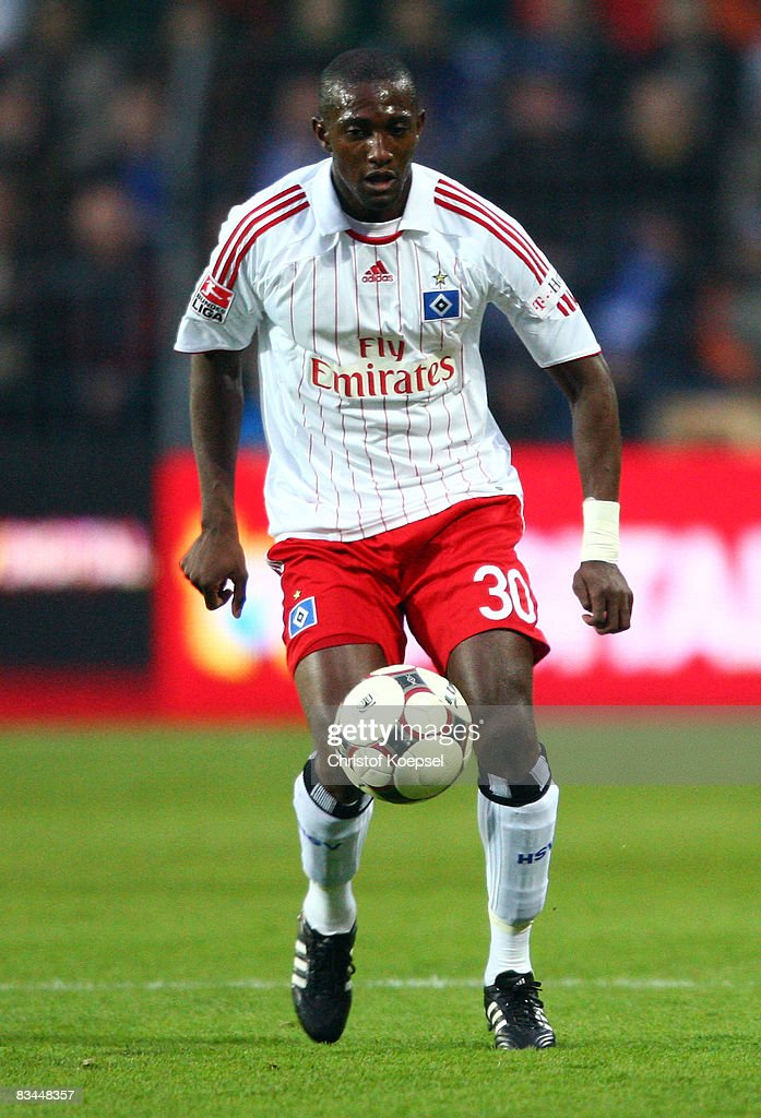 Collin Benjamin of Hamburg runs with the ball during the Bundesliga match between 1899 Hoffenheim and Hamburger SV at the Carl-Benz-Stadium on October 26, 2008 in Mannheim, Germany.