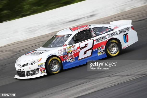 Collin Cabre driver of the UTI/NTI Toyota on the track during qualifying for the NASCAR KN Pro Series East at Thompson Speedway Motorsports Park on...