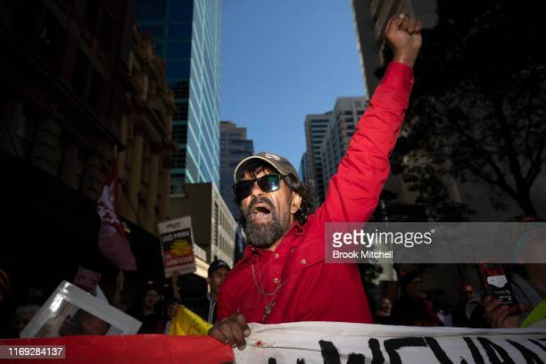 Collin Chatfield the father of Tane Chatfield whom Collin believes was murdered in police custody shows emotion during a Black Lives Matter rally at...