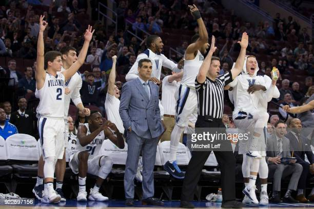 Collin Gillespie Dhamir CosbyRoundtree Mikal Bridges Phil Booth and Donte DiVincenzo of the Villanova Wildcats celebrate from the bench while head...