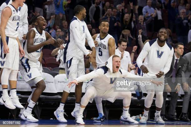 Collin Gillespie Dhamir CosbyRoundtree Mikal Bridges Phil Booth Donte DiVincenzo and Eric Paschall of the Villanova Wildcats celebrate from the bench...