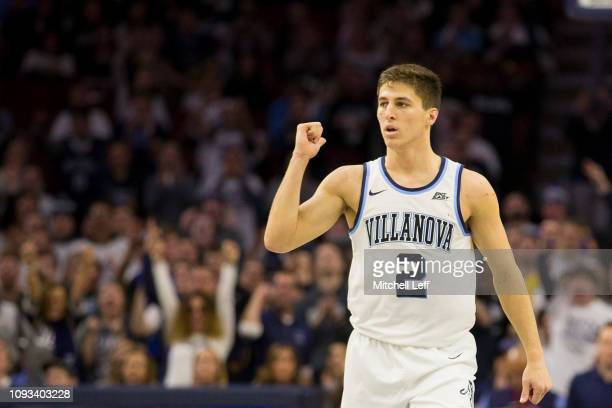 Collin Gillespie of the Villanova Wildcats reacts against the Georgetown Hoyas in the second half at the Wells Fargo Center on February 3 2019 in...