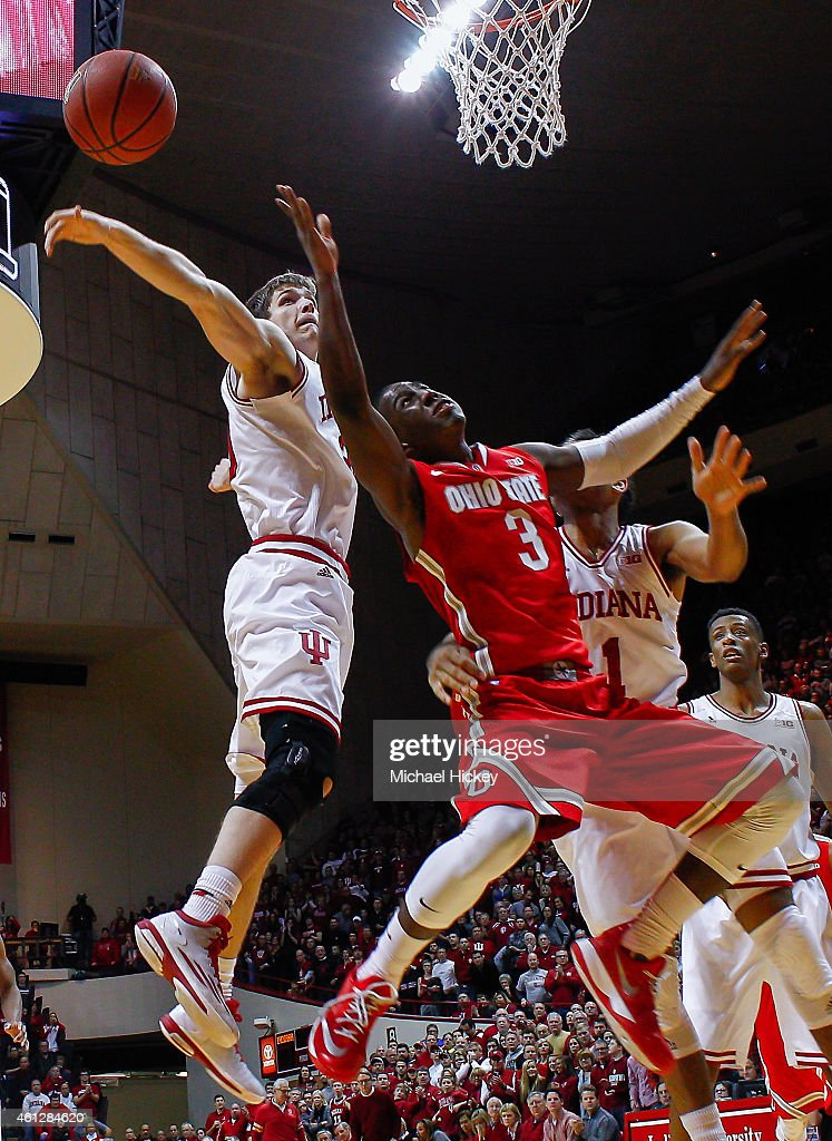 Collin Hartman #30 of the Indiana Hoosiers blocks the shot of Shannon Scott #3 of the Ohio State Buckeyes at Assembly Hall on January 10, 2015 in Bloomington, Indiana. Indiana defeated Ohio State 69-66.