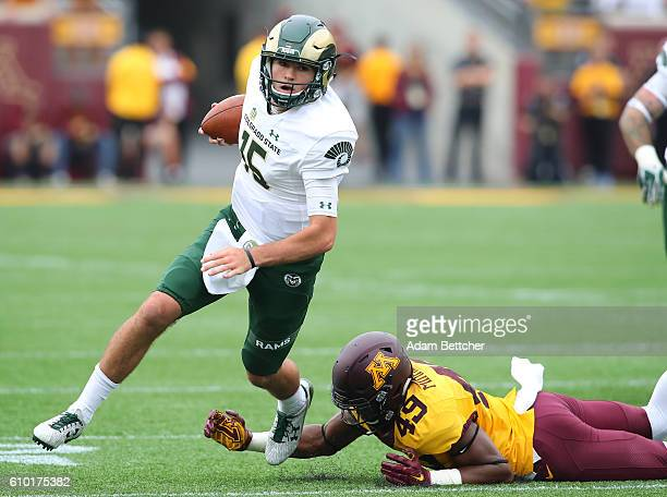 Collin Hill of the Colorado State Rams carries the ball for a gain in the third quarter against the Minnesota Golden Gophers at TCF Bank Stadium on...