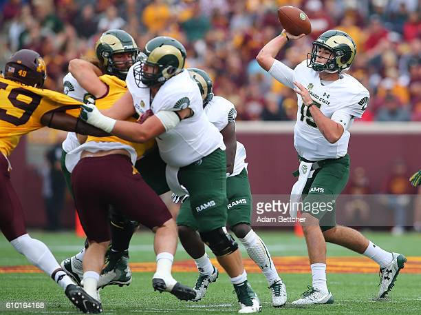 Collin Hill of the Colorado State Rams throws the ball in the first quarter against the Minnesota Golden Gophers at TCF Bank Stadium on September 24...