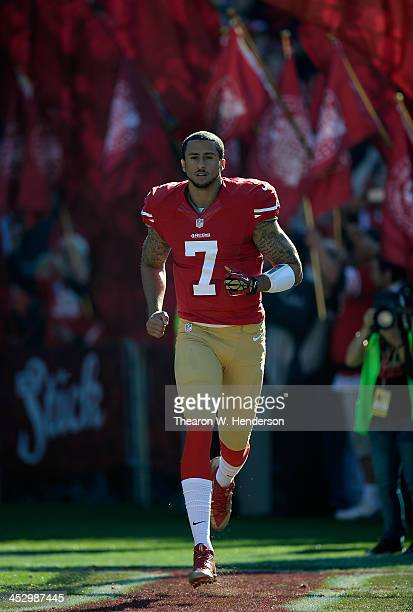 Collin Kaepernick of the San Francisco 49ers runs onto the field during players introduction prior to playing the St Louis Rams at Candlestick Park...