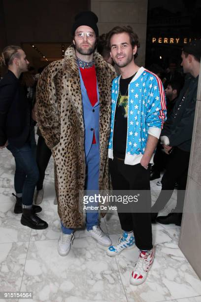 Collin King and Robert Dallas attend Perry Ellis Front Row February 2018 New York Fashion Week Mens' on February 6 2018 in New York City