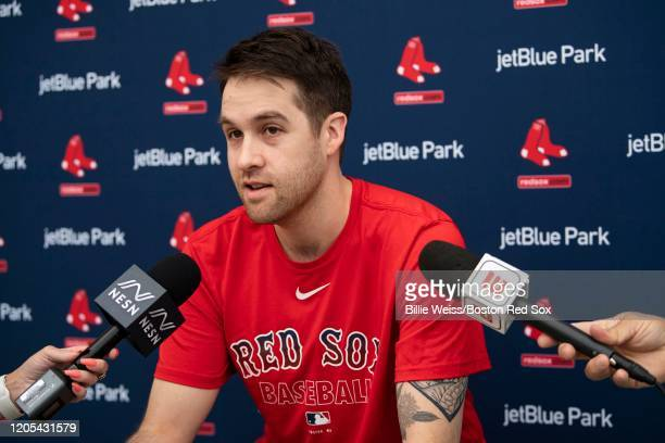 Collin McHugh of the Boston Red Sox speaks to the media during a press conference before a Grapefruit League game against the Atlanta Braves on March...