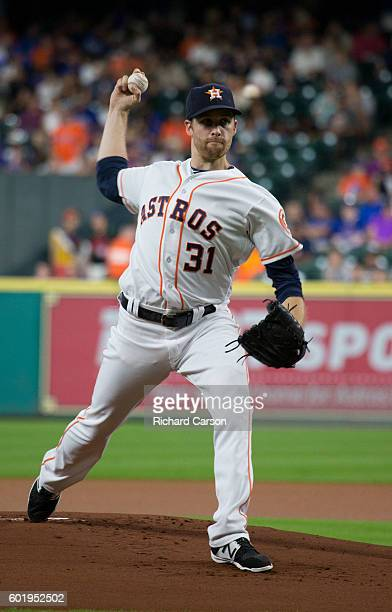 Collin McHugh of the Houston Astros delivers a pitch against the Chicago Cubs in the first inning at Minute Maid Park on September 10 2016 in Houston...