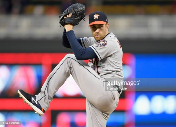 Collin McHugh of the Houston Astros delivers a pitch against the Minnesota Twins during the first inning of the game on May 1 2019 at Target Field in...