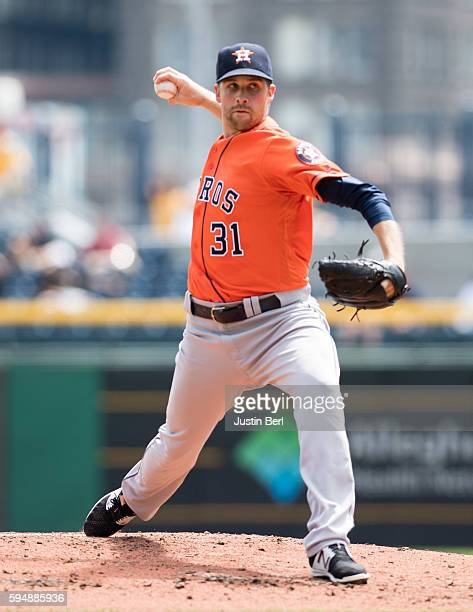 Collin McHugh of the Houston Astros delivers a pitch in second inning during the game against the Pittsburgh Pirates at PNC Park on August 24 2016 in...