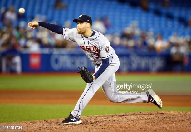 Collin McHugh of the Houston Astros delivers a pitch in the fourth inning during a MLB game against the Toronto Blue Jays at Rogers Centre on August...